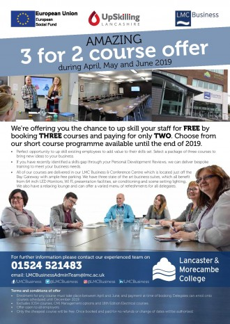 3 for 2 courses at Lancaster and Morecambe College