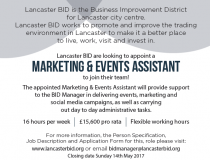 Lancaster BID searching of a part-time BID Marketing & Events Assistant